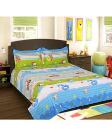 Sassoon Cotton Double Bedsheet with 2 Pillow Covers Peanuts Print - Multicolour