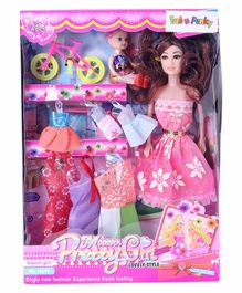 Fashion Dolls With Accessories Pink - Height 10 cm