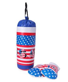 Kids Boxing Set USA Print - Red & Blue