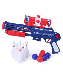 Ping Pong Gun With Balls & Pins Set - Red Blue