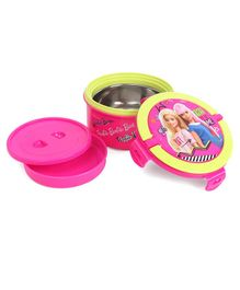 Barbie Steel Insulated Round Lunch Box With Container - Pink