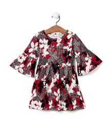 M'andy Floral Print Flared Full Sleeves Dress - Red