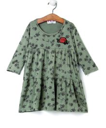 M'andy Flowers Print Full Sleeves Dress - Green
