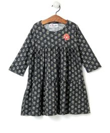 M'andy Tiny Flowers Printed Full Sleeves Dress - Black