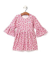 M'andy Floral Print Ruffled Full Sleeves Dress - Pink