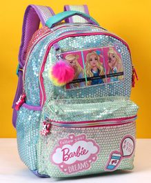 Barbie Sequin School Bag Blue - Height 14 inches