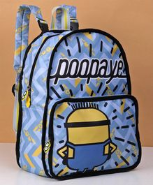 Minions Reversible School Bag Blue Yellow - Height 16.1 inches