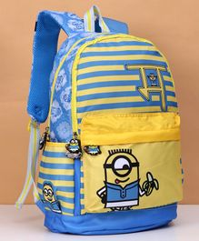Minions Striped School Bag Yellow Blue - 18 Inches
