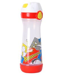 Maped Push Button Sipper Water Bottle Comics Print Red - 580 ml