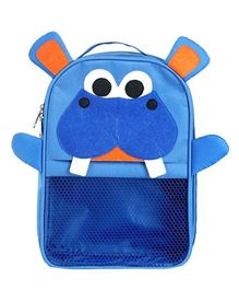 My Gift Booth Nylon Hippo Nursery Bag Blue - 10 Inches