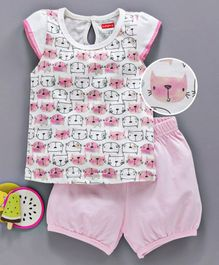 Babyhug Short Sleeves Cotton Night Suit Kitty Print - Pink White