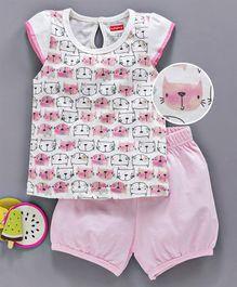 07802aa3d25 Babyhug Short Sleeves Cotton Night Suit Kitty Print - Pink White