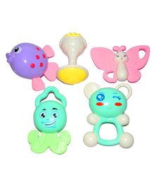 Vibgyor Vibes Attractive Colorful Rattles and Teether Pack of 5 - Multicolour