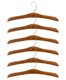 Forever Natural Set Of 6 Pieces Wooden Hanger- Brown