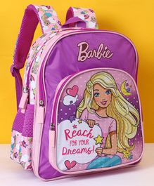 Barbie School Bag Reach Your Dreams Print Purple - Height 18 Inches