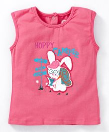 JusCubs Bunny Patch & Text Printed Sleeveless Top - Pink