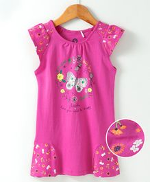 JusCubs Butterfly Print Cap Sleeves Dress - Pink