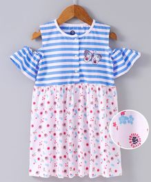 JusCubs Striped & Flower Print Half Sleeves Dress Top - Blue & Light Pink