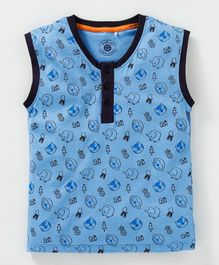 JusCubs All Over Printed Sleeveless T-Shirt - Blue