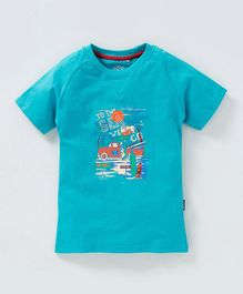 JusCubs Printed Half Sleeves T-Shirt - Blue