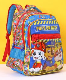 Paw Patrol School Bag Pups On Duty Print Blue Red - Height 16 Inches