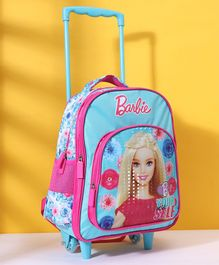 Barbie Trolley School Bag Blue Pink - Height 14 Inches