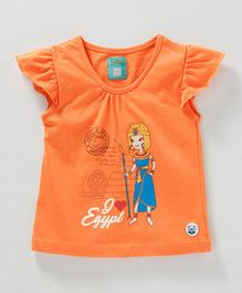 Solittle I love Egypt Printed Short Sleeves Tee - Orange