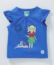 Solittle I Love Australia Printed Short Sleeves Tee - Royal Blue