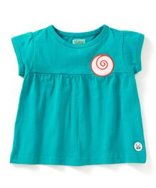 Solittle Circle Patch Short Sleeves Top - Sea Green