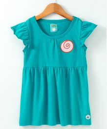 Solittle Circle Patch Short Sleeves Dress - Sea Green