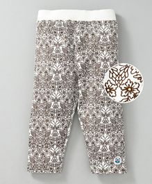 Solittle Owl & Flower Printed Full Length Pant - White