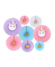 Party Propz Unicorn Hanging Paper Fans Decoration Set - Pack of 8
