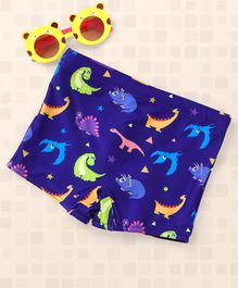 Babyhug Swimming Trunks Dino Print - Royal Blue
