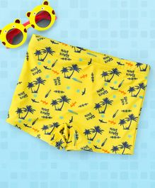 Babyhug Swimming Trunks Beach Print - Yellow