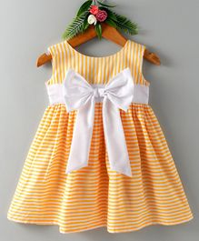 Many Frocks & Sleeveless Striped Big Bow Applique Dress - Yellow
