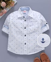 Babyhug Half Sleeves Woven Anchor Print Shirt - Navy