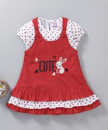 U R Cute Polka Dot Print Short Sleeves Top With Dress - Red & White