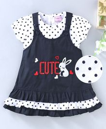U R Cute Polka Dot Print Short Sleeves Top With Dress - Blue & White