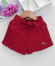 Vitamins Shorts With Bow Applique - Maroon