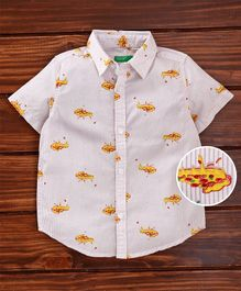 UCB Half Sleeves Striped Shirt Pizza Print - White Lavender