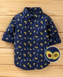 UCB Full Sleeves Shirt Avocado Print - Dark Blue