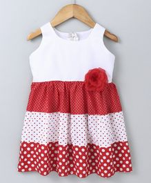 Polka Dots Sleeveless Three Tier Flower Detailed Dress - Red