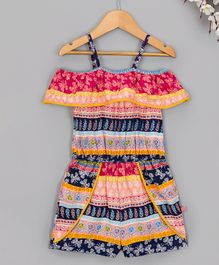 f07b37fc0f8 Budding Bees Butterfly Printed Cold Shoulder Half Sleeves Jumpsuit -  Multicolor