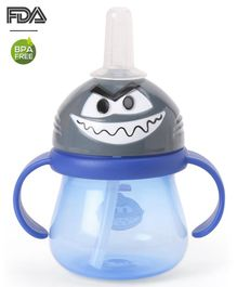 Babyhug Swipey Straw Sipper With Handle Pirate Grey Blue - 250 ml