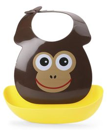 Babyhug Plastic Bib with Detachable Crumb Catcher Chimp - Brown
