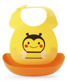 Babyhug Plastic Bib with Detachable Crumb Catcher Bee - Yellow