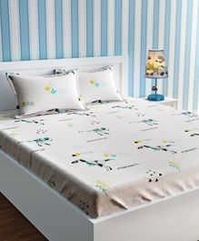 Urban Dreams Double Bedsheet & 2 Pillow Covers Abstract Dinosaur Print - White & Blue