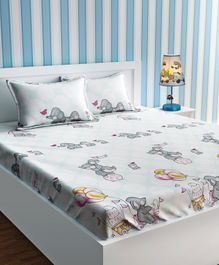 Urban Dream Bed Sheet With Pillow Cover Set Elephant Print - White