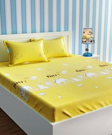 Urban Dream Bed Sheet With Pillow Cover Set Animal Print - Yellow