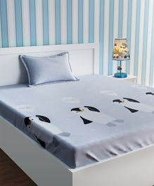 Urban Dream Bed Sheet With Pillow Cover Set Penguin Print - Grey
